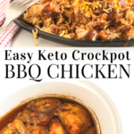 pinterest image for keto crockpot bbq chicken