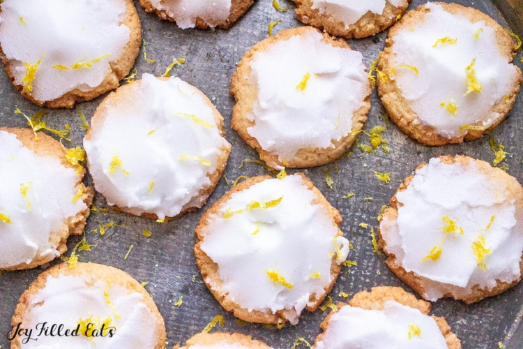 low carb lemon cookies on a metal background
