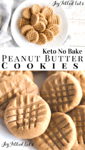 pinterest image for keto no bake peanut butter cookies