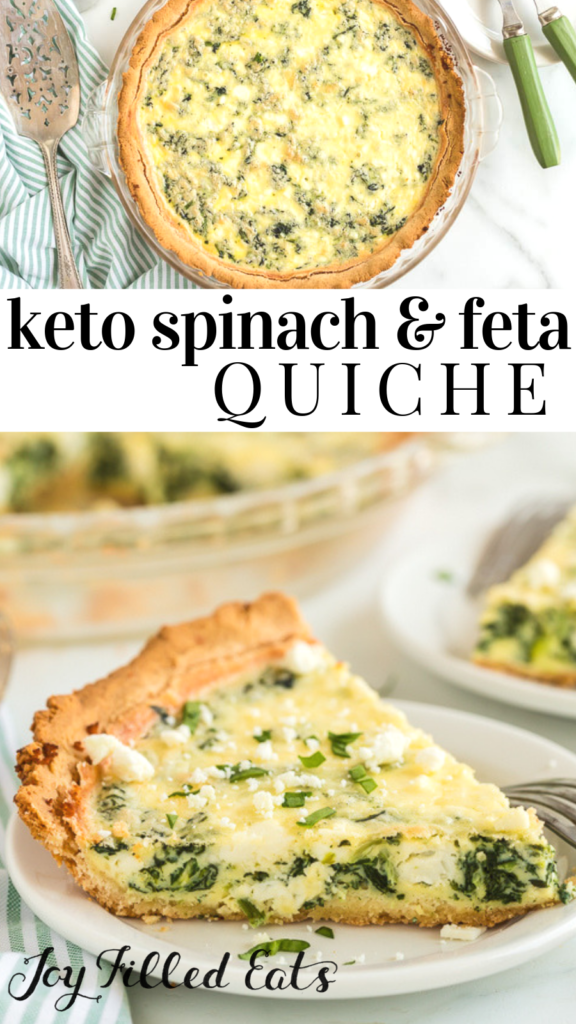 pinterest image for spinach & feta quiche