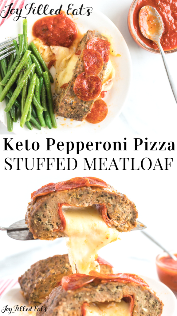 pinterest image for pepperoni pizza stuffed meatloa