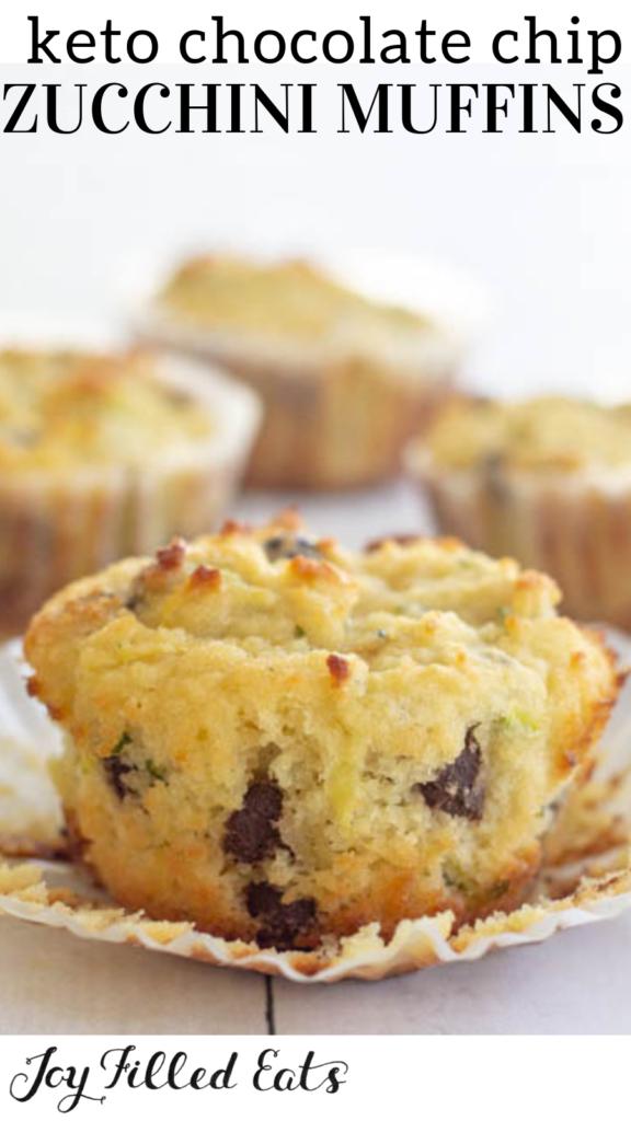 pinterest image for keto chocolate chip zucchini muffins