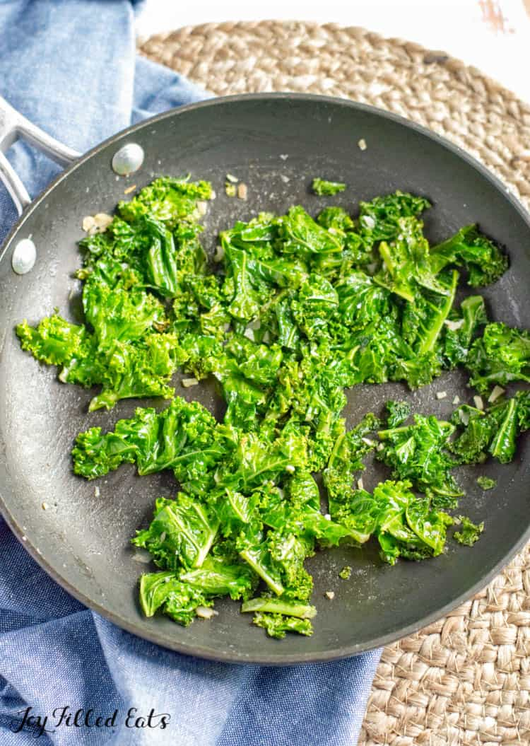 frying pan with kale