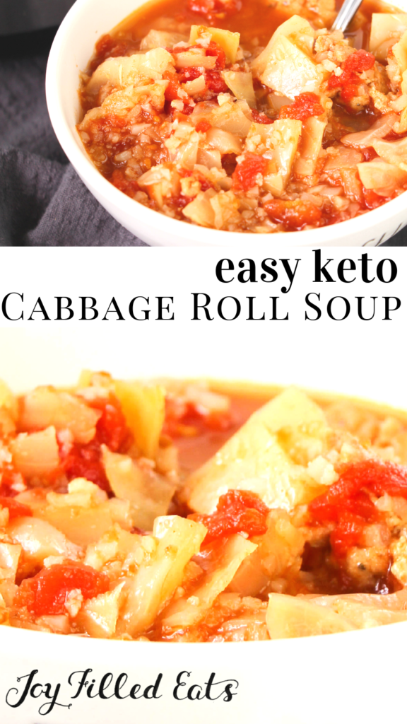pinterest image for keto instant pot cabbage roll soup