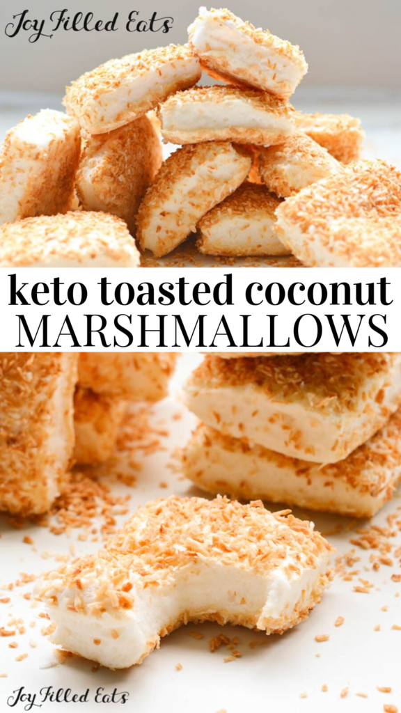 pinterest image for keto toasted coconut marshmallows