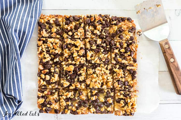 keto magic cookie bars cut into squares