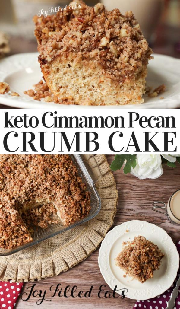 pinterest image for keto cinnamon pecan crumb cake