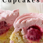 pinterest image for keto lemon raspberry cupcakes