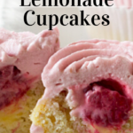 pinterest image for keto raspberry lemonade cupcakes