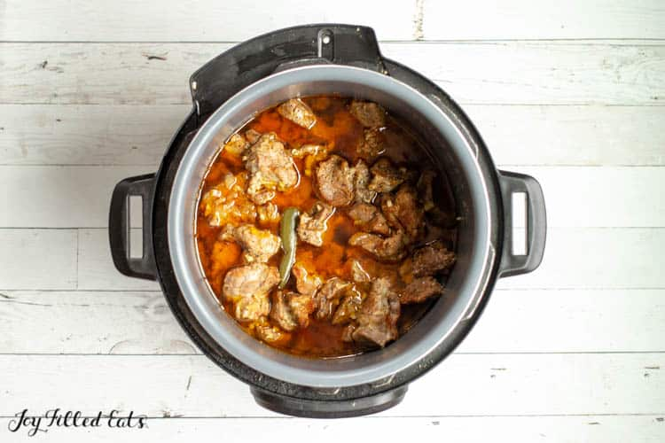 overhead view of instant pot filled with pork shoulder and mexican seasoning