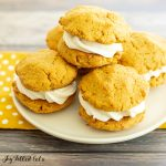 keto pumpkin cookies filled with cream cheese icing