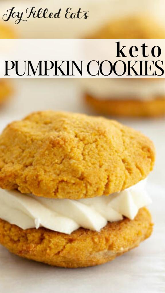 pinterest image for keto pumpkin cookies