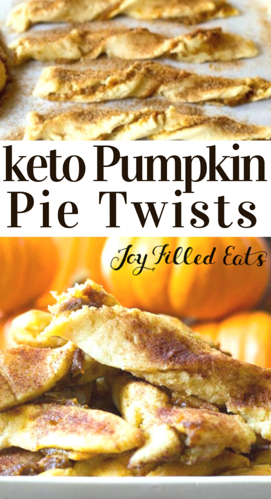 pinterest image for keto pumpkin pie twists