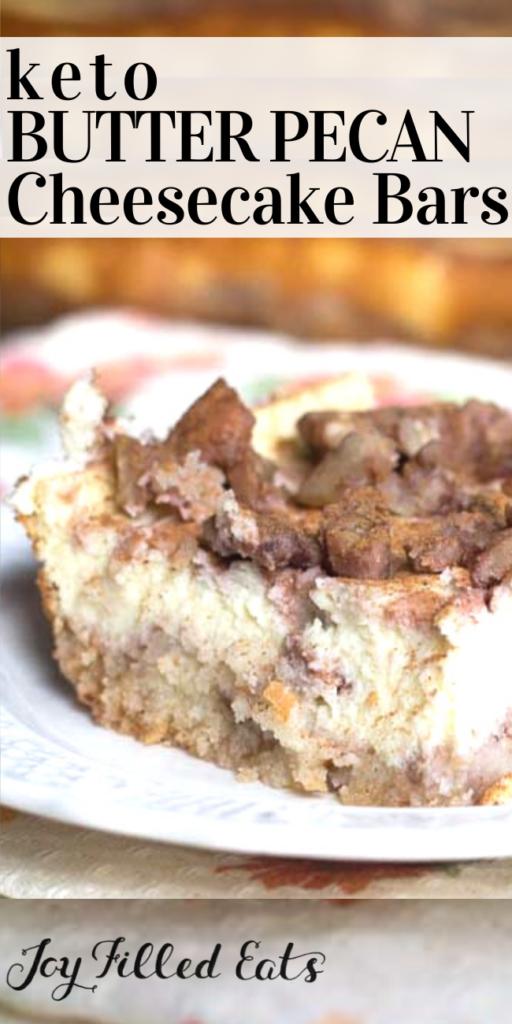 pinterest image for keto butter pecan cheesecake bars