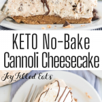 pinterest image for keto cannoli cheesecake