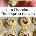 pinterest image for keto chocolate thumbprint cookies