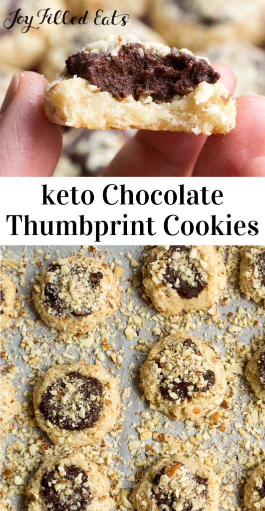 pinterest image for keto chocolate thumbprint cookies