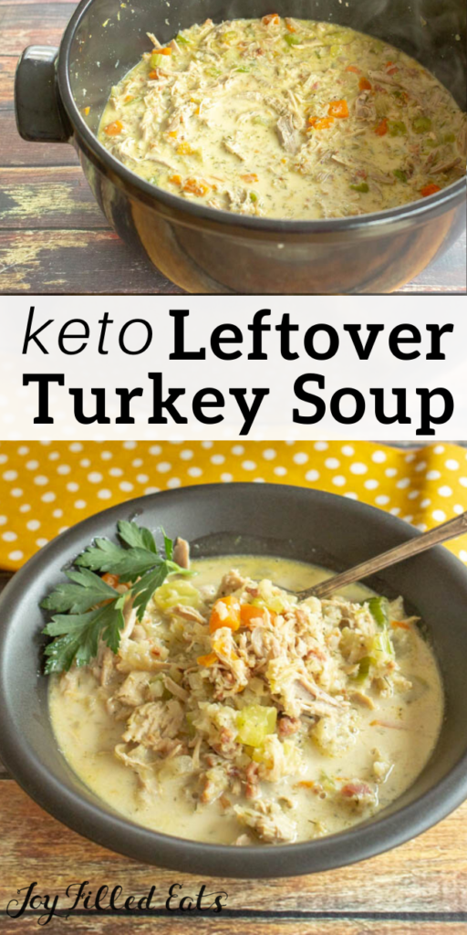 pinterest image for leftover turkey soup