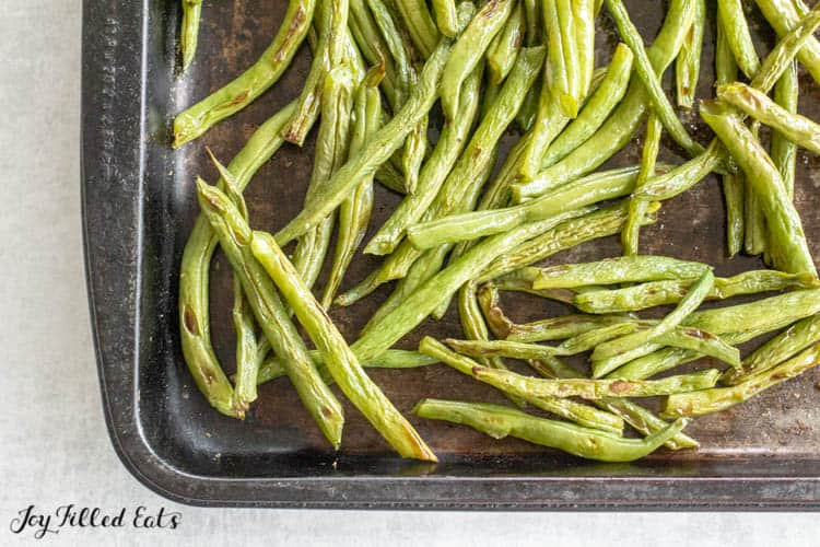 baking sheet with Oven-Roasted Green Beans