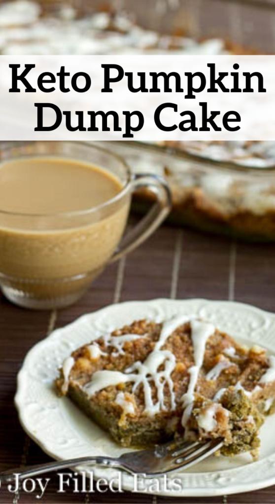 pinterest image for keto pumpkin dump cake