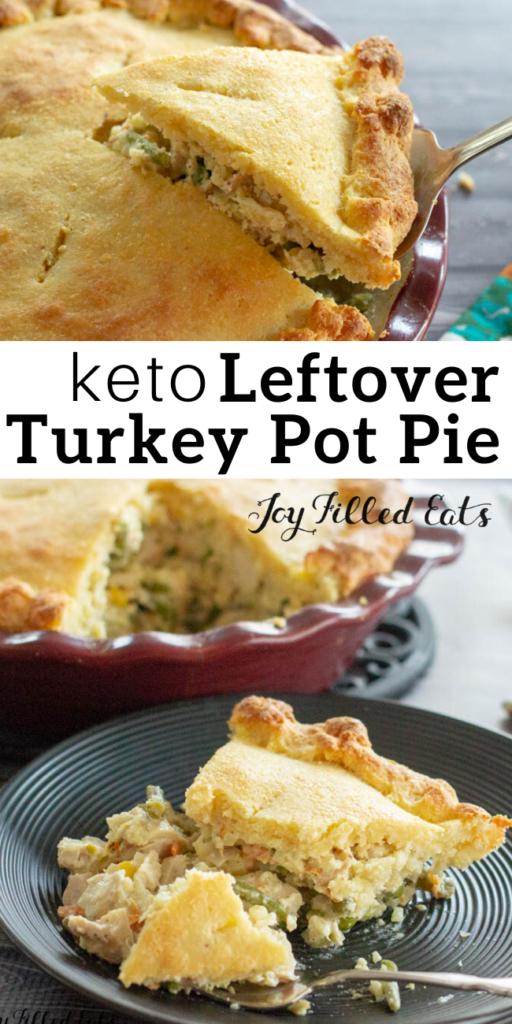 pinterest image for keto leftover turkey pot pie