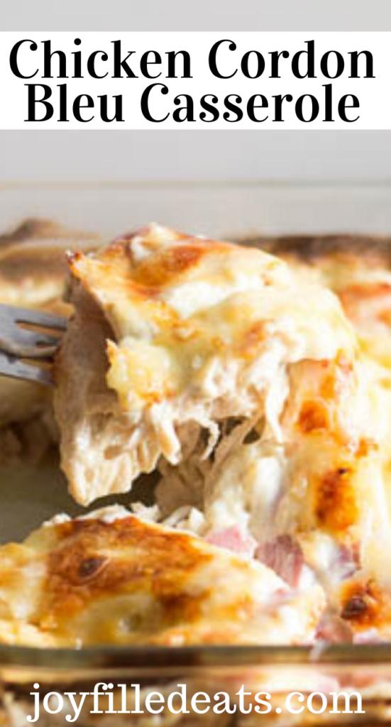 pinterest image for chicken cordon bleu casserole
