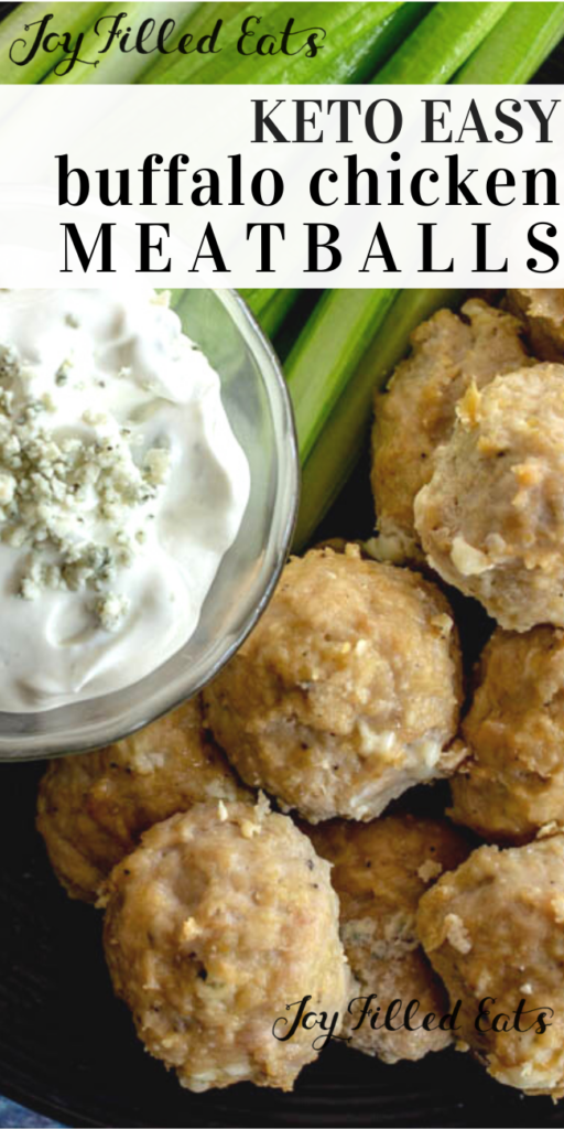 pinterest image for keto buffalo chicken meatballs
