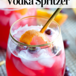 pinterest image for keto cranberry vodka spritzer