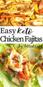 pinterest image for keto baked chicken fajitas