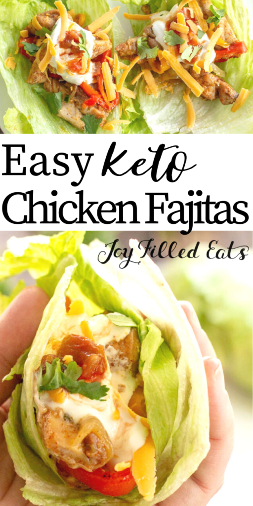 pinterest image for keto baked chicken fajitas