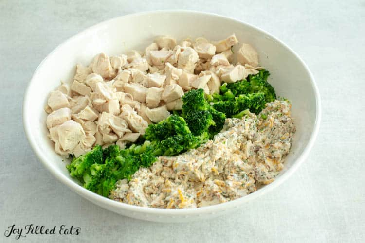 Bowl of chicken pieces, broccoli cut and homemade ranch seasoning before being mixed