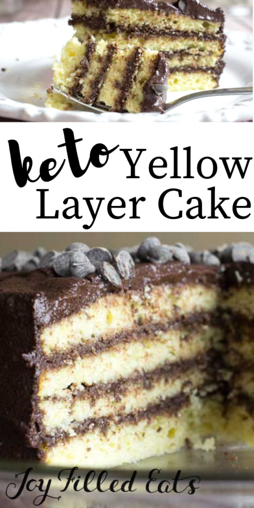 pinterest image for keto yellow layer cake
