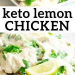 pinterest image for keto lemon chicken