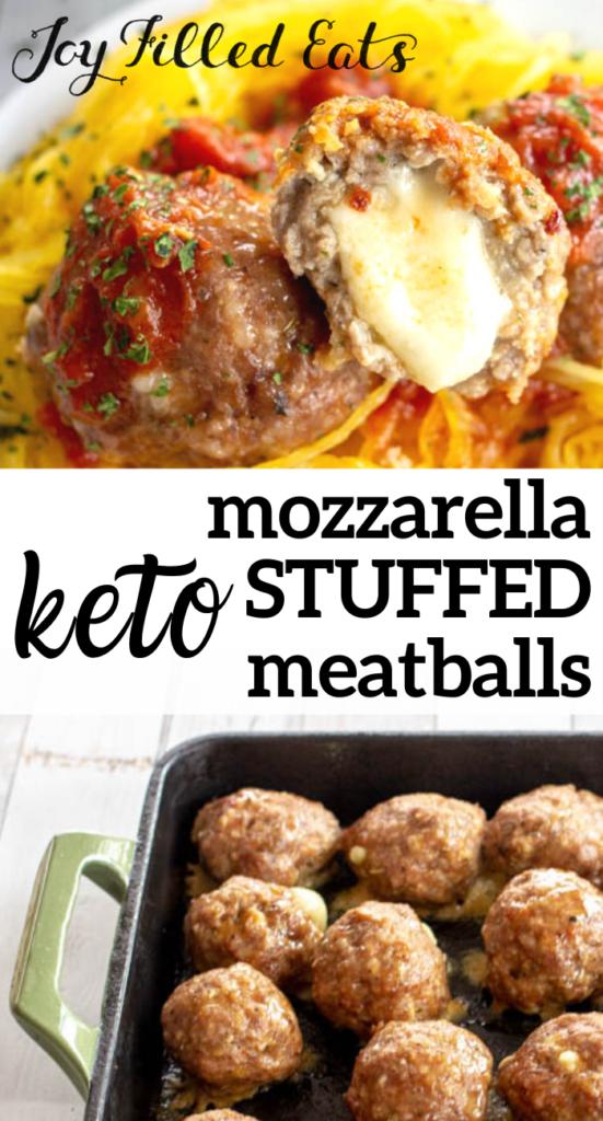 pinterest image for keto mozzarella stuffed meatballs