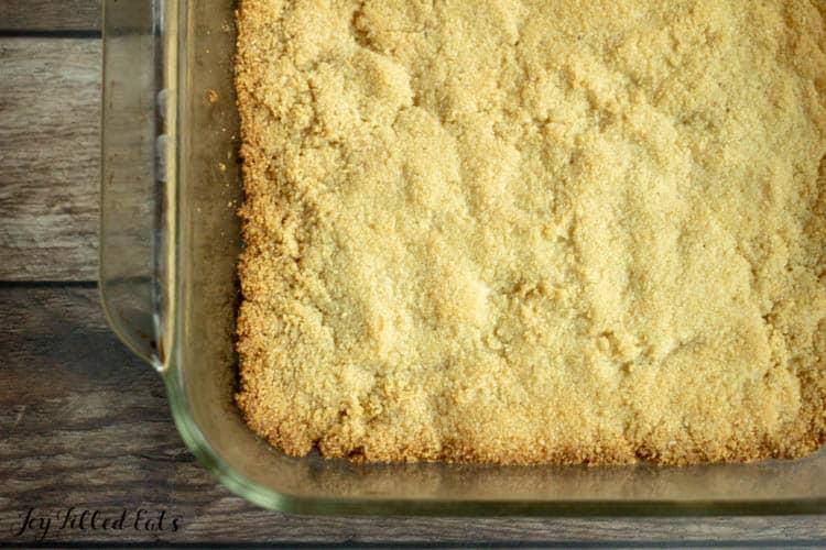 Samoa crust in baking dish