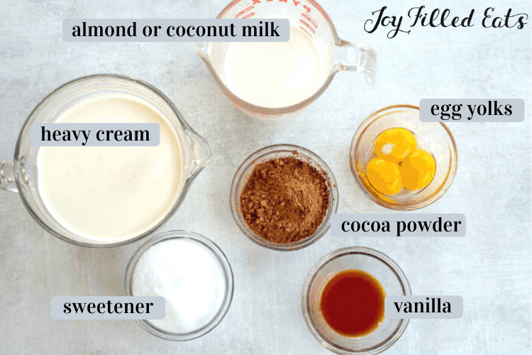 keto chocolate ice cream ingredients in various bowls include heavy cream, almond or coconut milk, eggs, cocoa powder, sweetener and vanilla