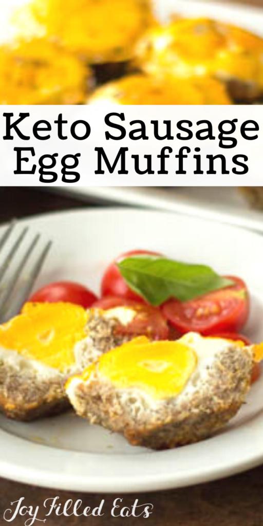 pinterest image for keto sausage egg muffins