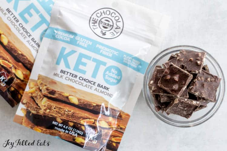 Overhead shot of Keto Milk Chocolate Almond bark package next to chocolate bark in small bowl