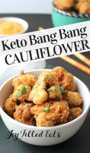 pinterest image for keto bang bang cauliflower