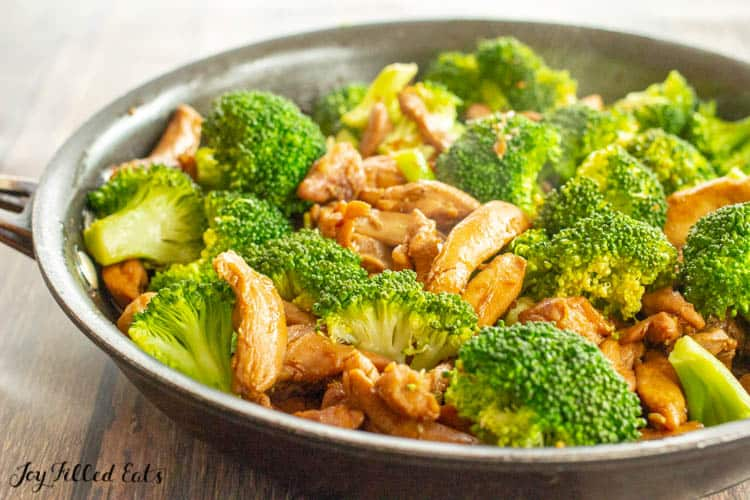 Keto Teriyake Chicken with broccoli in skillet