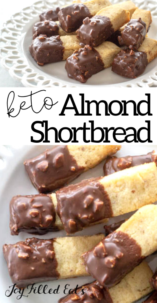 pinterest image for keto almond shortbread cookies