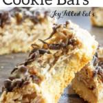 pinterest image for samoas cookie bars