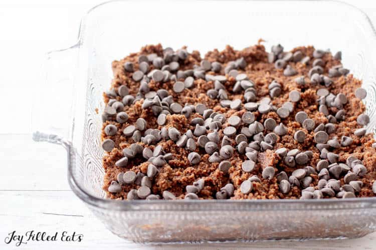 Low Carb Brownie batter in clear baking dish topped with chocolate chips