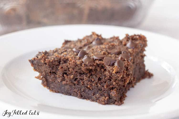 Low Carb Brownie square piece on white plate