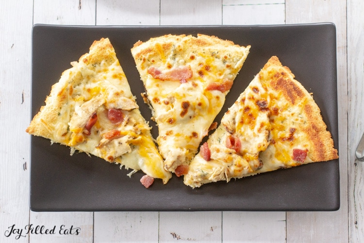 slices of keto pizza on a plate