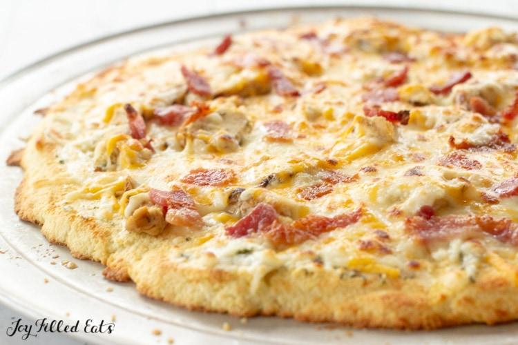 baked keto Chicken Bacon Ranch Pizza