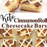 pinterest image for cinnamon roll cheesecake bars