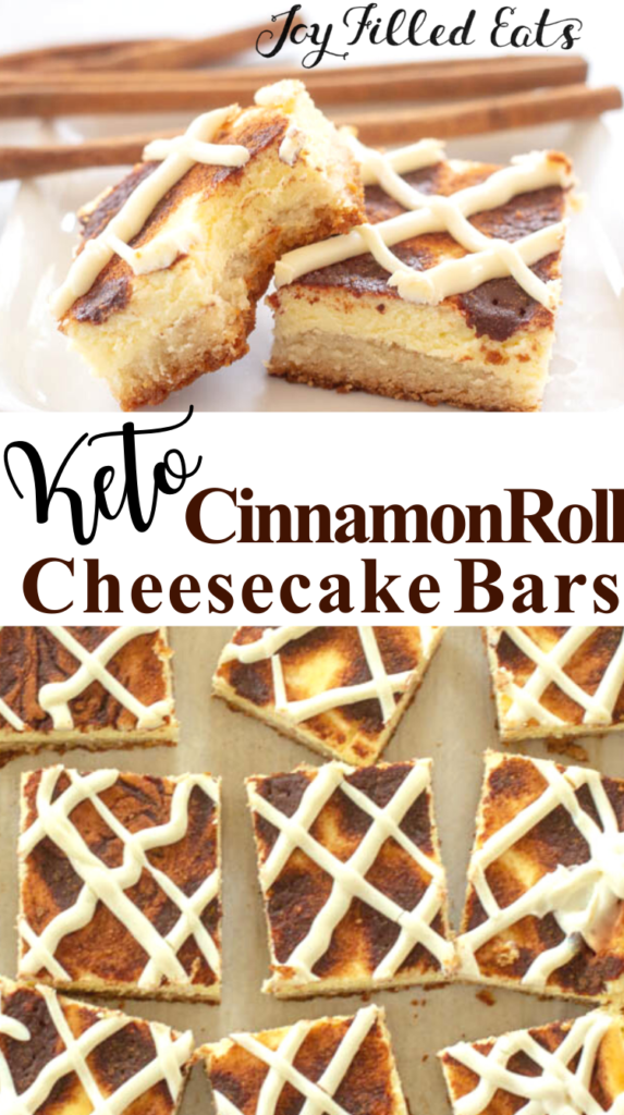 pinterest image for cinnamon roll cheesecake bars