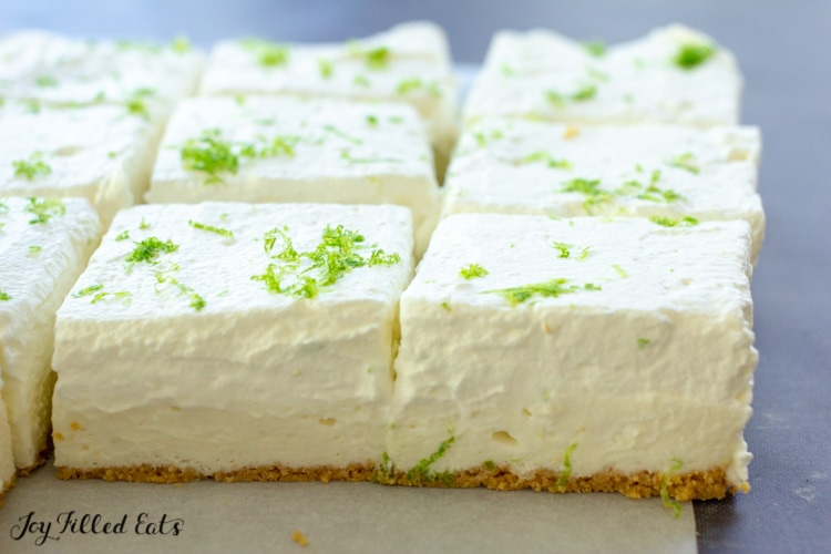 Keto No Bake Cheesecake Bars cut into squares