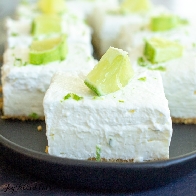 Keto No Bake Cheesecake Bars topped with lime